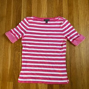 Ralph Lauren pink and white striped top size large
